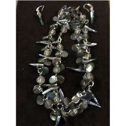 SILVERTONE & ABALONE & CRYSTAL NECKLACE WITH MATCHING DROP EARRINGS