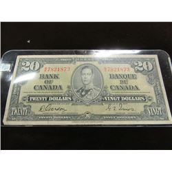 1937 KING GEORGE VI BANK OF CANADA LEGAL TENDER $20 BILL