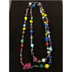 MULTI COLORED GLASS, NATURAL STONE & CRYSTAL NECKLACE