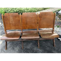 ANTIQUE 3 SEATER FOLDING BENCH