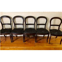 GR OF 5, ANTIQUE BALLOON BACK CHAIRS WITH HORSE HAIR SEATS