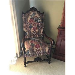 ANTIQUE VICTORIAN LOOK UPHOLSTERED OCCASIONAL CHAIR