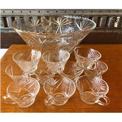 VINTAGE CUT GLASS PUNCH BOWL SET