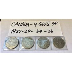 GR OF 4, CANADIAN 5 CENT PIECES - 1927 / 1929 / 1934 / 1936