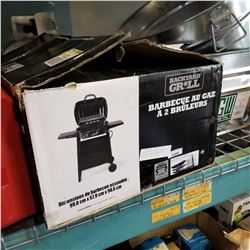 BACKYARD GRILL BBQ 2 BURNER GAS GRILL AND PROPANE TANK MISSING FRONT PANELS