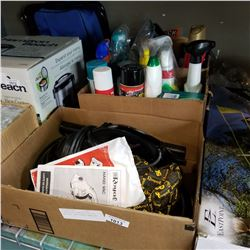 2 BOXES OF CLEANING SUPPLIES AND DIRT DEVIL ROYAL HAND VAC