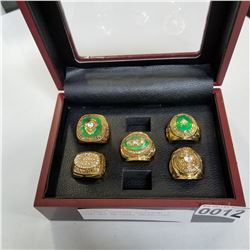 GREENBAY PACKERS SUPERBOWL 5 RING SET IN CASE, UNOFFICIAL