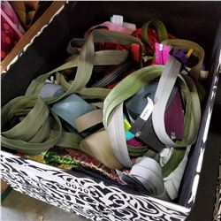 BOX OF ZIPPERS, ELASTIC ROLLS, AND FABRIC