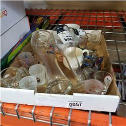 LOT OF SHOT GLASSES AND BEER GLASSES