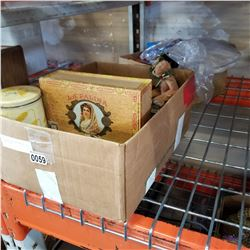 BOX OF NEW ITEMS AND BOX OF VINTAGE BOXES
