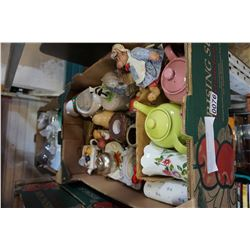 2 BOX LOT OF TEAPOTS AND COLLECTIBLES