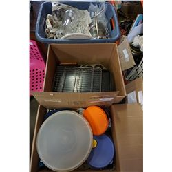 2 BOXES OF KITCHEN ITEMS AND BIN OF POTS AND GLASSWARE
