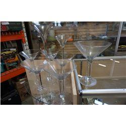 LOT OF LARGE MARTINI GLASSES