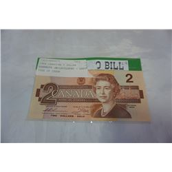 1986 CANADIAN 2 DOLLAR BANKNOTE UNCIRCULATED - LAST YEAR OF ISSUE