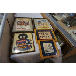 LOT OF 1930s FRAMED BLACK AMERICANA ADVERTISEMENTS