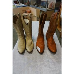 2 PAIRS OF LEATHER COWBOY BOOTS SIZE 11 OSTRICH LEATHER MADE IN CANADA AND BOULET SIZE 10.5