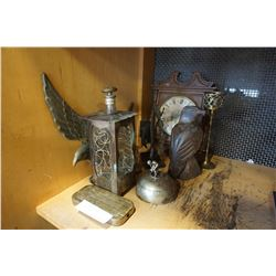 LOT OF BRASS AND METAL DECOR AND BRASS EAGLE
