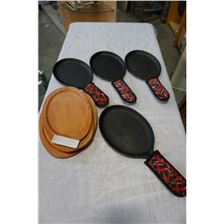 CAST IRON SKILLETS AND WOOD HOT PLATES