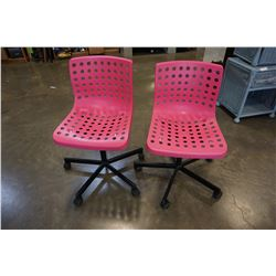 3 PINK ROLLING OFFICE CHAIRS