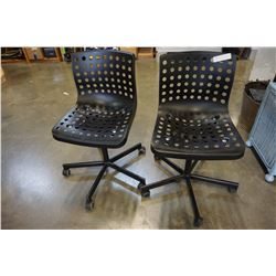 2 BLACK ROLLING OFFICE CHAIRS