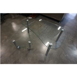 MODERN GLASS COFFEE TABLE W/ SPIN OUT SECTION