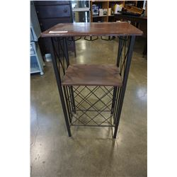 METAL AND WOOD WINE RACK END TABLE