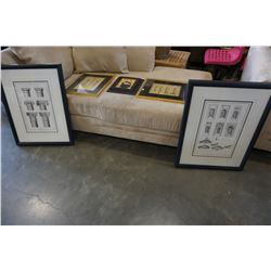 2 VINTAGE STATUE PRINTS AND BOMBAY CO PRINTS