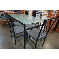 BLACK GLASSTOP DINING TABLE W/ 4 CHAIRS