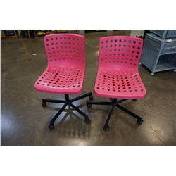 2 PINK ROLLING OFFICE CHAIRS