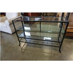 3 TIERED BLACK METAL DECORATIVE DISPLAY CABINET W/ GLASS SHELVES
