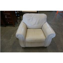 PALLISAR WHITE LEATHER ROLLED ARM CHAIR