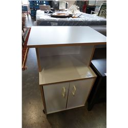 WHITE MICROWAVE STAND ON WHEELS