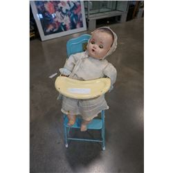 ANTIQUE DOLL AND METAL DOLL HIGH CHAIR