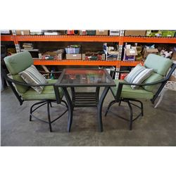 METAL PATIO TABLE W/ GLASS AND 2 MATCHING CHAIRS AND CUSHIONS