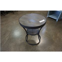 INDUSTRIAL WOOD AND METAL ROUND 2 TIER END TABLE