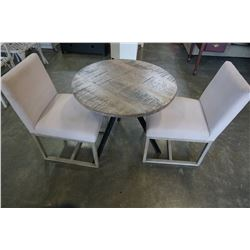 ROUND WOOD AND METAL BASE TABLE AND 2 DINING CHAIRS