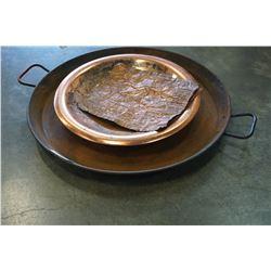 METAL GOLD PAN, COPPER PAN, AND COPPER ART