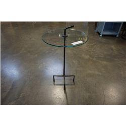 METAL GLASSTOP END TABLE