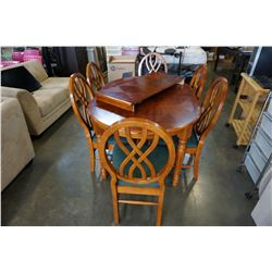 MODERN DINING TABLE W/ LEAF AND 6 CHAIRS