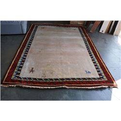 VINTAGE 7 X 10 FOOT HAND KNOTTED AND DYED PERUVIAN AREA CARPET