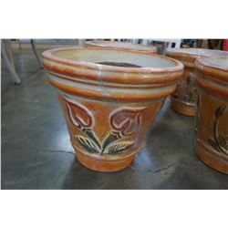 2 LARGE HANDMADE CERAMIC PLANTERS MADE IN MEXICO