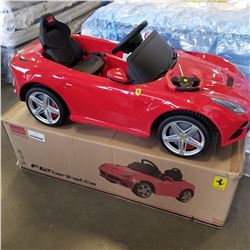 NEW FERRARI F12 BERLINETTA KIDS RIDE ON ELECTRIC 12 VOLT CAR, WITH REMOTE CONTROL, SPEAKERS WITH AUX
