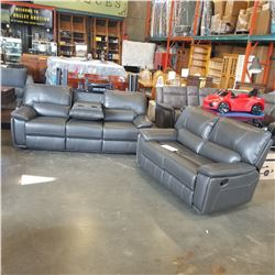 NEW GENUINE GREY STITCHED LEATHER DOUBLE RECLINING SOFA WITH FLIP DOWN CONSOLE, AND DOUBLE RECLINING