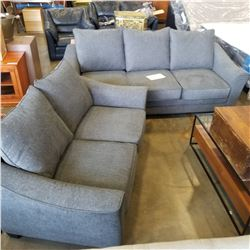 NEW CONTEMPORARY GREY FABRIC SOFA AND LOVESEAT, WITH REMOVABLE AND WASHABLE CUSHIONS, RETAIL $2499