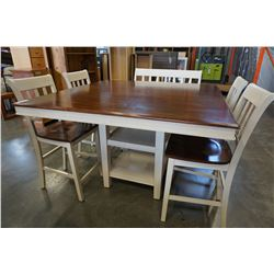 LARGE MODERN SQUARE DINING TABLE W/ 4 CHAIRS, 2 SEAT BENCH, AND LEAF