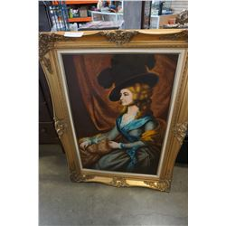 GUILT FRAMED OIL PAINTING OF LADY IN HAT