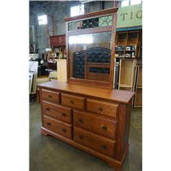 7 DRAWER OAK T AND J DRESSER W/ MIRROR