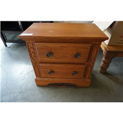 2 DRAWER T AND J OAK NIGHTSTAND