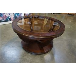 MODERN ROUND BEVELLED GLASS INSERT COFFEE TABLE