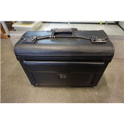 BLACK ROLLING LEATHER SUITCASE